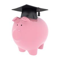 image of a piggy bank with a graduation cap