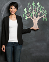 image of a woman with a money tree