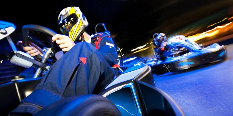 Race between two go-karts.