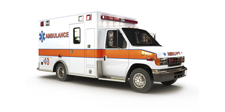 Ambulance on a white background