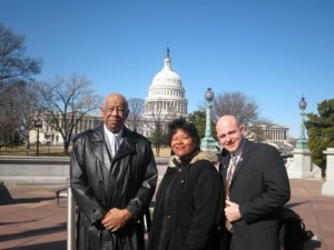From left to right, former DCCCD chancellor Dr. Wright Lassiter Jr., former Cedar Valley student Gwendolyn Stallsworth, and former Richland College student Matthew Detweiler.