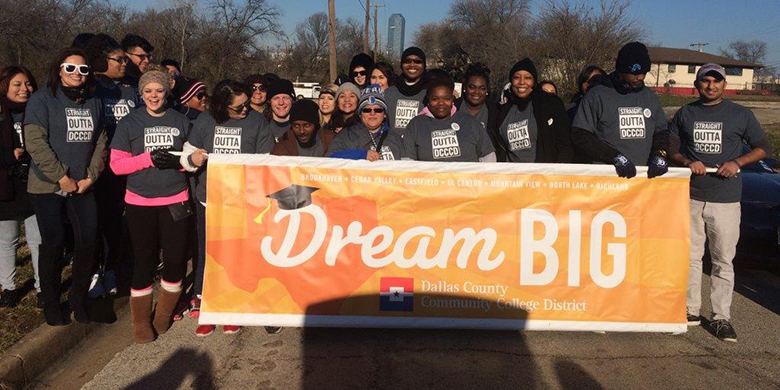 DCCCD students walking in the MLK parade in Dallas