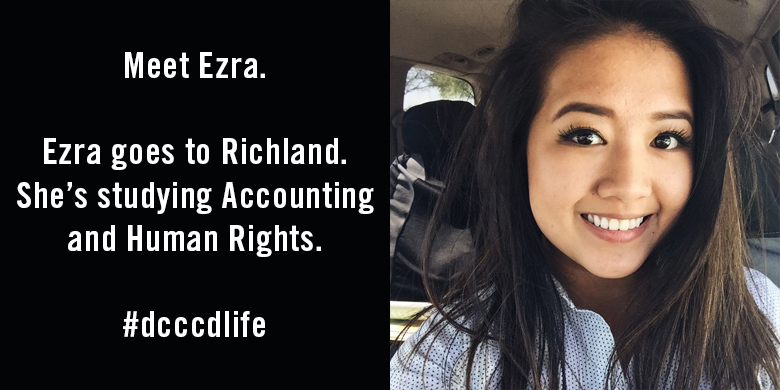 Meet Ezra. Ezra goes to Richland. She's studying Accounting and Human Rights.