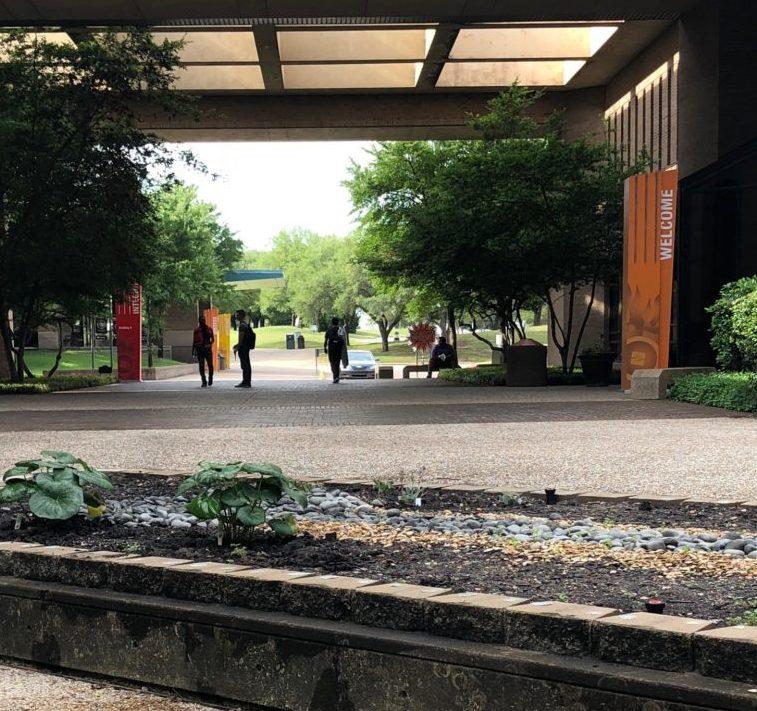 Students walking around Cedar Valley campus.