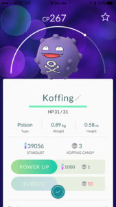 A Koffing Pokemon found at Eastfield.