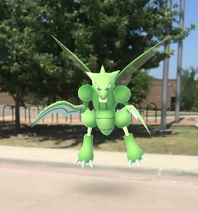 A Scyther Pokemon at Cedar Valley College.