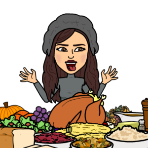 Alexis bitmoji admires Thanksgiving dinner