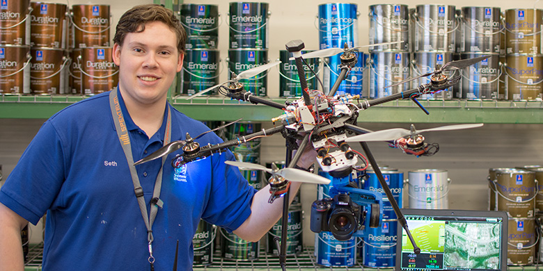 Seth Bullis, a GIS student at Brookhaven College, built his own drone.