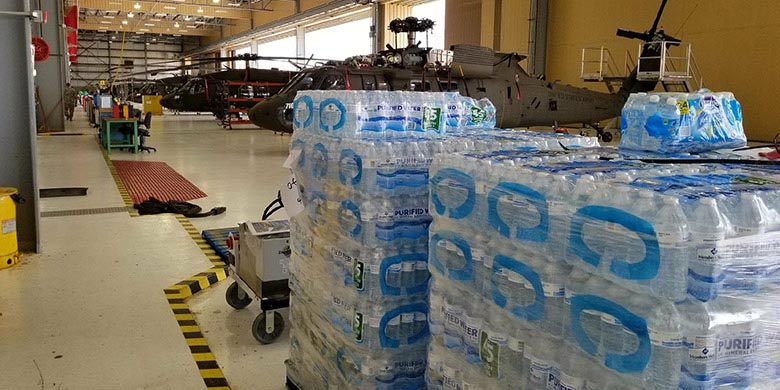 pallet of water for hurricane victims