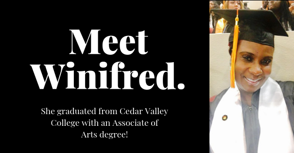 Winifred Bell-DCCCD Grad. She graduated from Cedar Valley College with an Associate of Arts degree.