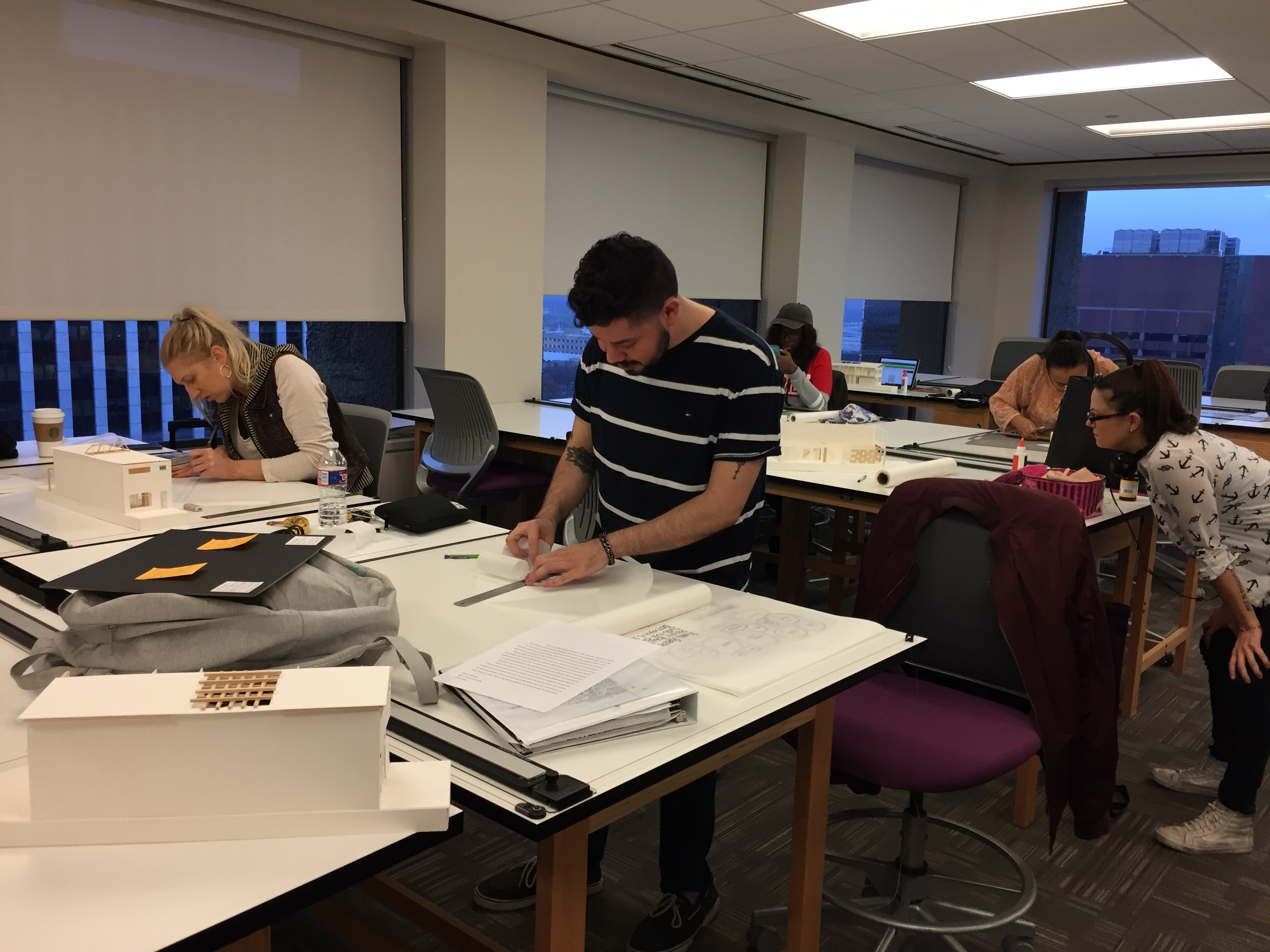 DCCCD students in a classroom, studying interior design at El Centro College.