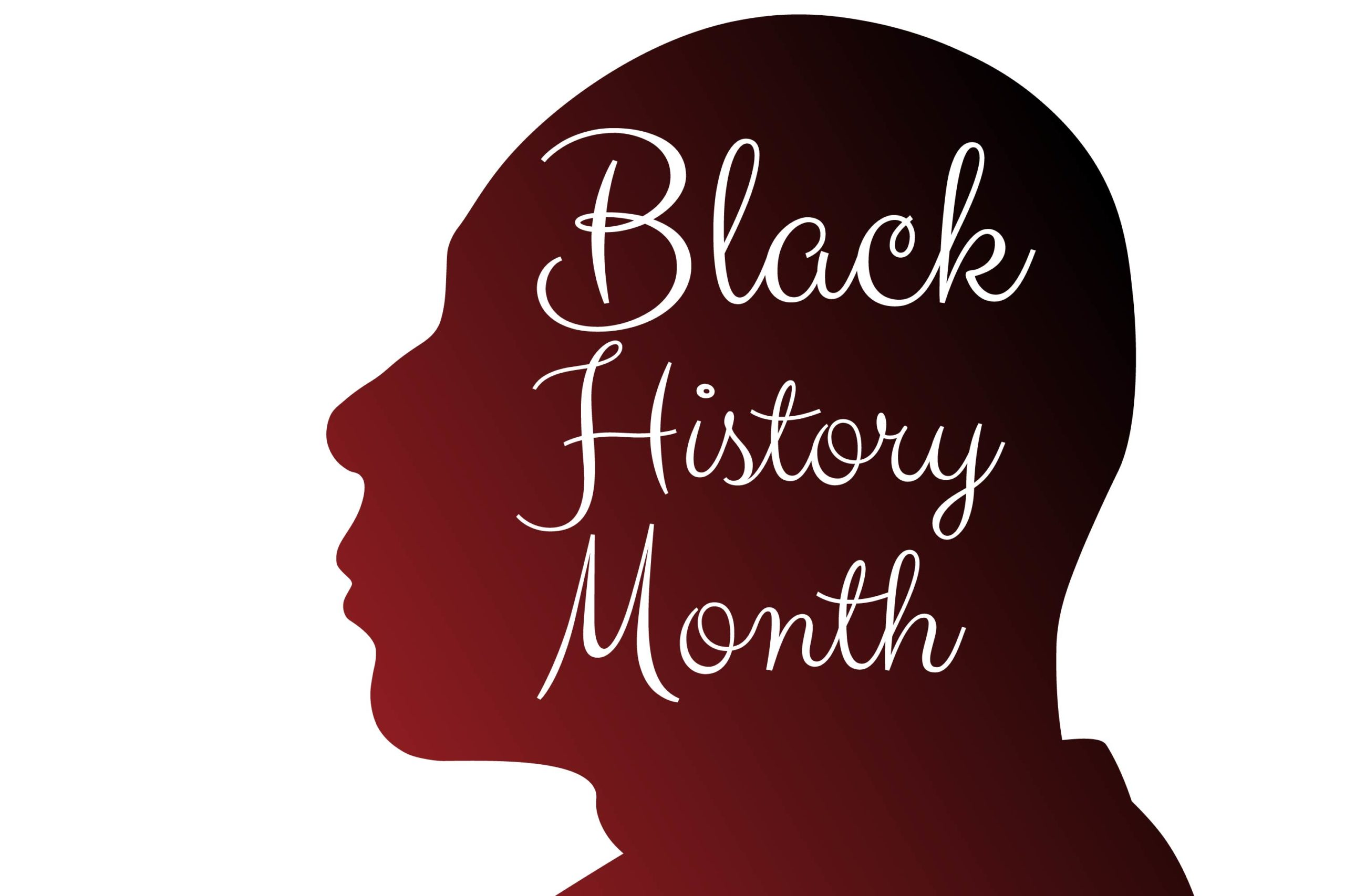 "silhouette that reads ""black history month"""