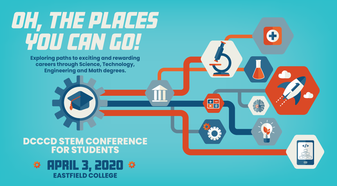 Oh, the places you can go! Exploring paths to exciting and rewarding careers through Science, Technology, Engineering and Math degrees. DCCCD STEM Conference for Students, April 3, 2020 at Eastfield College.