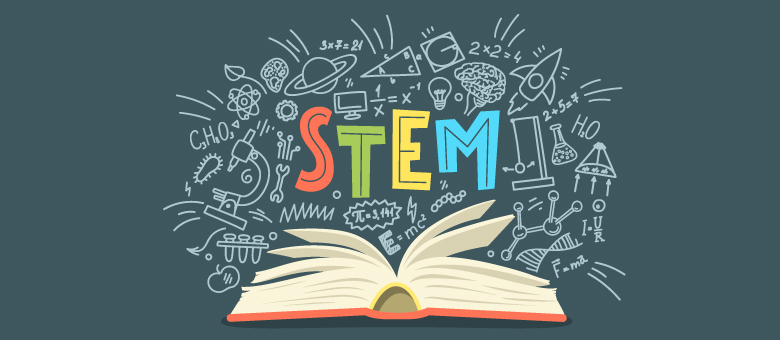 "Open book with the word ""STEM"" above it"