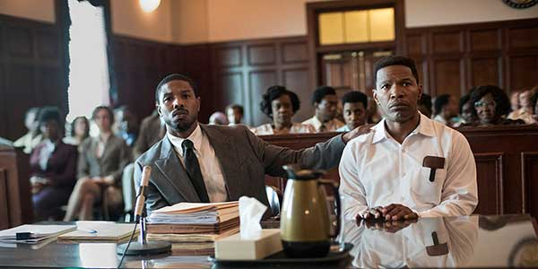 Michael B. Jordan and Jamie Foxx in a promotional image for Just Mercy film