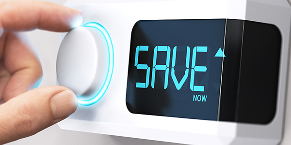 """a thermostat with the word """"SAVE"""" on it."""